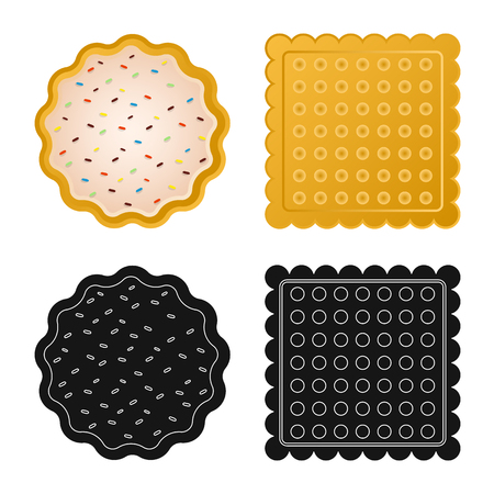 Vector design of biscuit and bake sign. Collection of biscuit and chocolate vector icon for stock. Иллюстрация