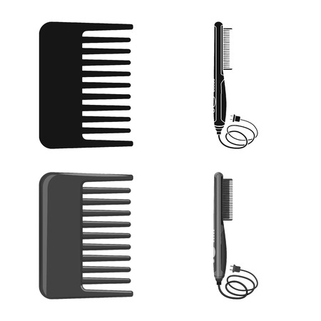 Isolated object of brush and hair symbol. Set of brush and hairbrush stock vector illustration.
