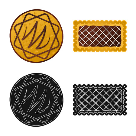 Isolated object of biscuit and bake logo. Collection of biscuit and chocolate stock symbol for web.