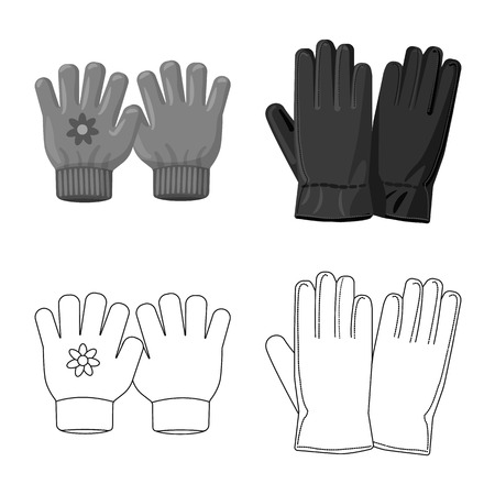 Isolated object of glove and winter icon. Collection of glove and equipment stock vector illustration. Illusztráció
