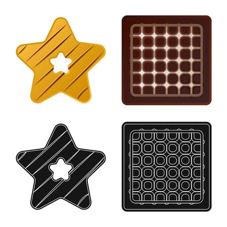 Vector illustration of biscuit and bake symbol. Collection of biscuit and chocolate stock vector illustration.