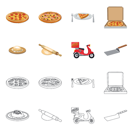 Vector illustration of pizza and food sign. Collection of pizza and italy vector icon for stock. Vector Illustratie