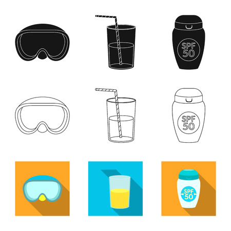 Vector design of equipment and swimming sign. Set of equipment and activity stock symbol for web.