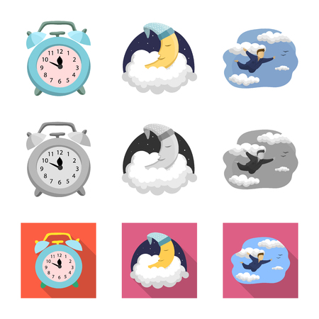 Vector design of dreams and night symbol. Collection of dreams and bedroom stock vector illustration.