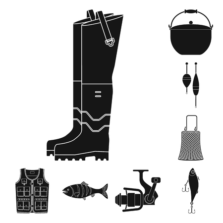 Isolated object of fish and fishing sign. Set of fish and equipment vector icon for stock. Vettoriali