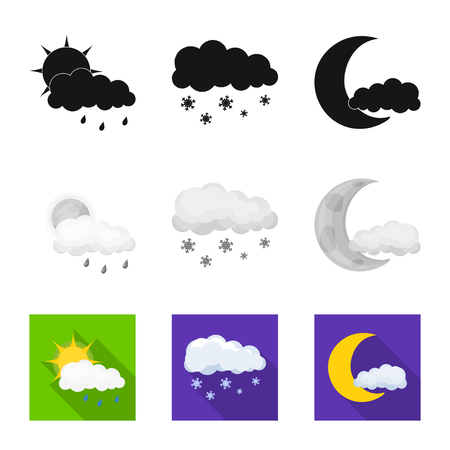 Vector design of weather and climate sign. Collection of weather and cloud stock symbol for web.