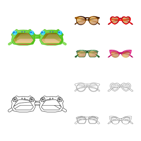 Vector design of glasses and sunglasses symbol. Set of glasses and accessory stock symbol for web.