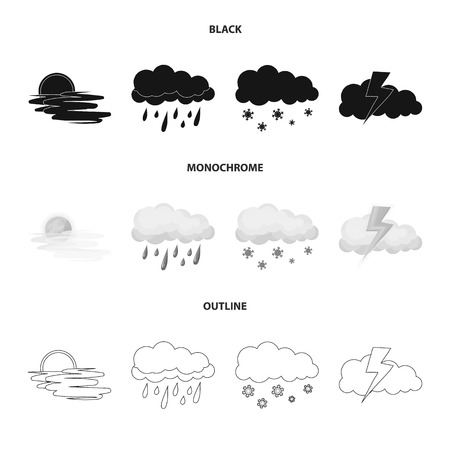 Vector illustration of weather and climate logo. Collection of weather and cloud stock symbol for web.