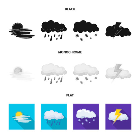 Vector design of weather and climate symbol. Set of weather and cloud stock symbol for web.