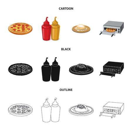 Vector illustration of pizza and food symbol. Set of pizza and italy stock symbol for web. Standard-Bild - 113669576