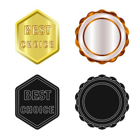 Geïsoleerde object van embleem en kentekensymbool. Set embleem en sticker aandelensymbool voor web. Vector Illustratie
