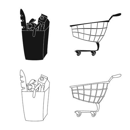 Vector illustration of food and drink logo. Set of food and store vector icon for stock. Illustration
