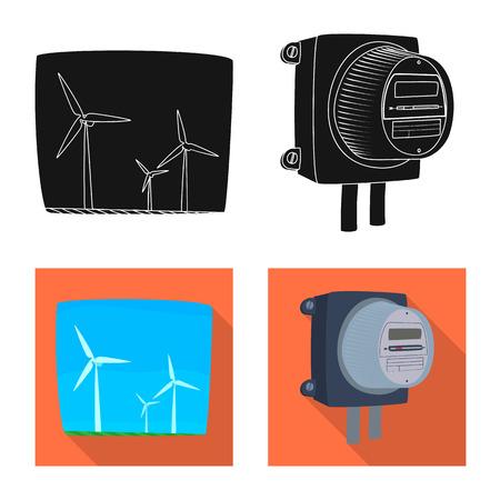 Vector design of electricity and electric icon. Collection of electricity and energy stock vector illustration. Ilustración de vector