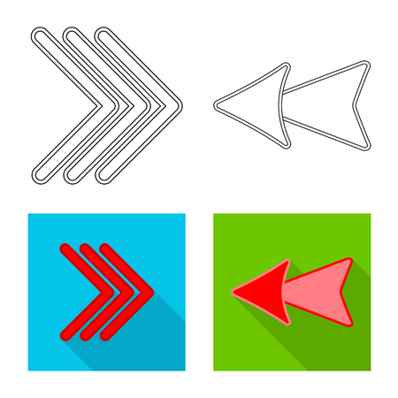 Vector design of element and arrow sign. Set of element and direction stock symbol for web.