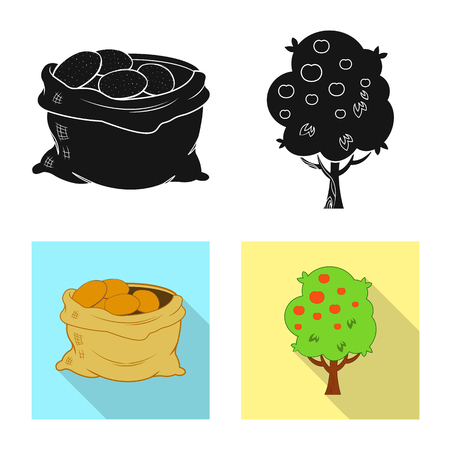 Vector design of farm and agriculture logo. Set of farm and plant vector icon for stock.