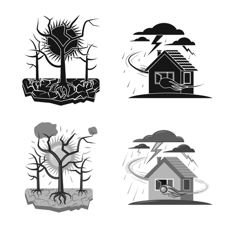 Isolated object of natural and disaster logo. Collection of natural and risk vector icon for stock.
