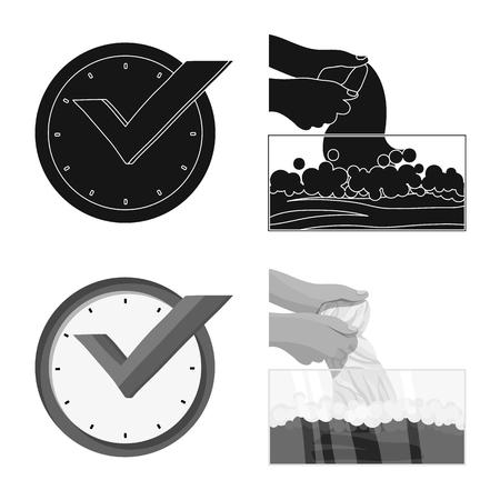 Vector illustration of laundry and clean logo. Collection of laundry and clothes stock vector illustration. Ilustração