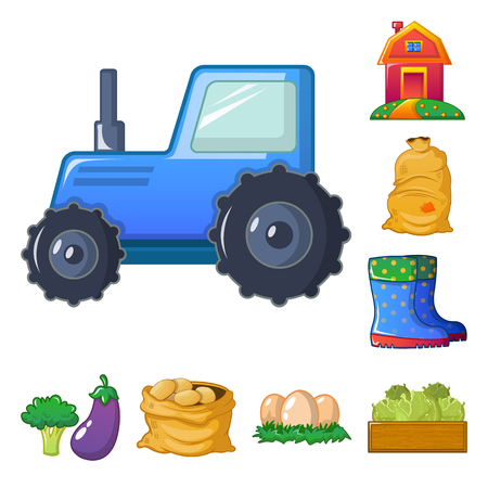 Vector design of farm and agriculture logo. Collection of farm and plant stock symbol for web. 矢量图像