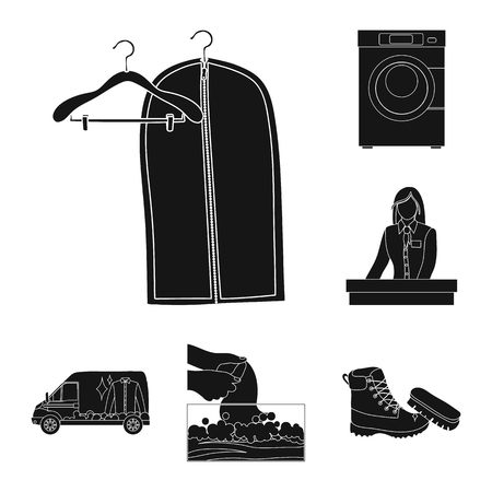 Isolated object of laundry and clean logo. Set of laundry and clothes stock vector illustration. Illustration