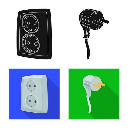 Vector design of electricity and electric icon. Collection of electricity and energy stock symbol for web.