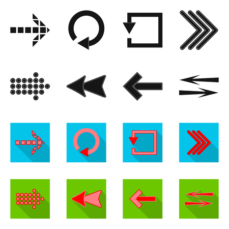 Vector design of element and arrow symbol. Set of element and direction vector icon for stock.