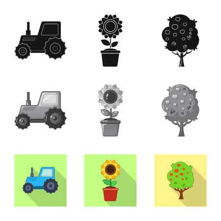 Vector design of farm and agriculture icon. Set of farm and plant vector icon for stock. 矢量图像