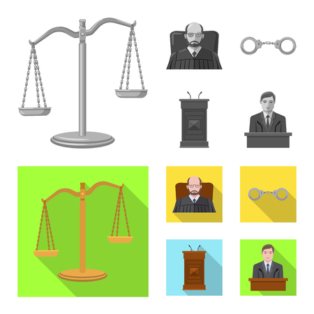 Vector illustration of law and lawyer logo. Set of law and justice vector icon for stock. Ilustração