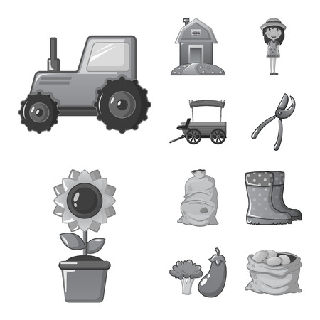 Isolated object of farm and agriculture sign. Set of farm and plant vector icon for stock.