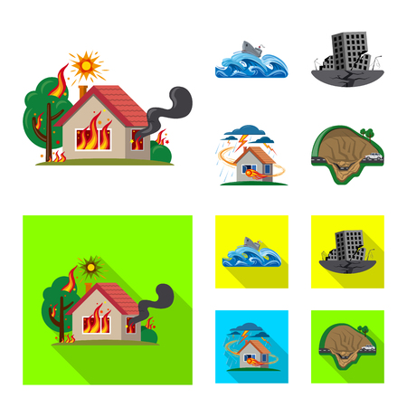 Vector illustration of natural and disaster icon. Set of natural and risk stock symbol for web. Illustration