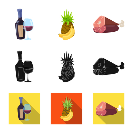 Vector illustration of food and drink sign. Collection of food and store vector icon for stock.