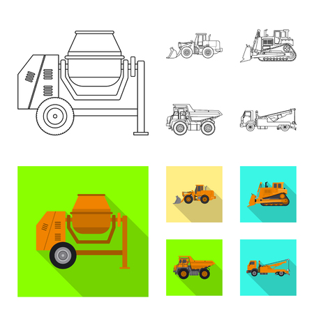 Vector design of build and construction symbol. Set of build and machinery stock symbol for web. Ilustração