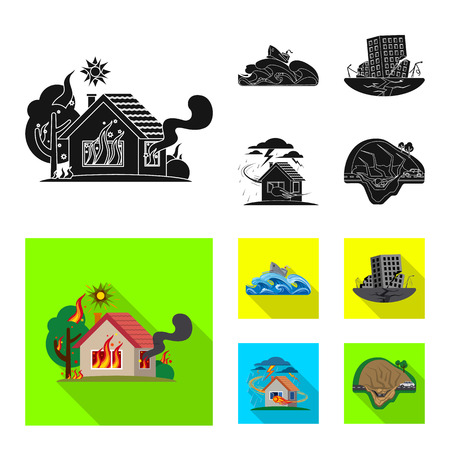 Isolated object of natural and disaster icon. Collection of natural and risk stock symbol for web. Illustration