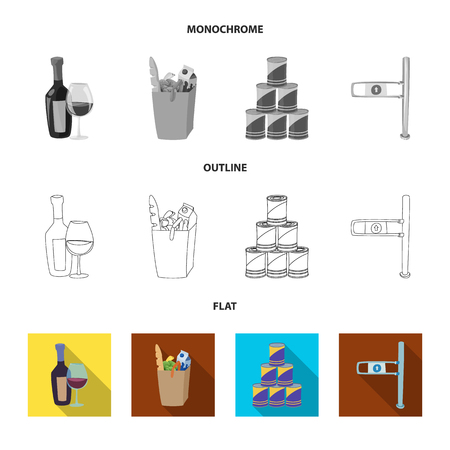 Vector design of food and drink symbol. Set of food and store stock vector illustration.