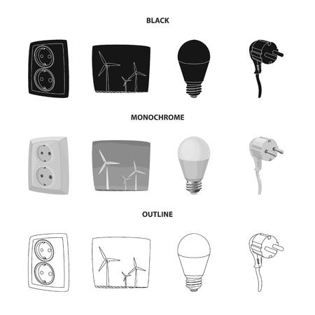 Vector illustration of electricity and electric icon. Set of electricity and energy stock symbol for web.