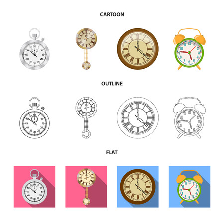 Vector illustration of clock and time icon. Collection of clock and circle vector icon for stock. Illustration