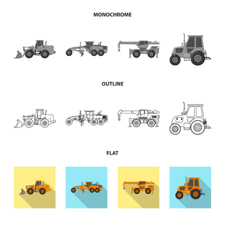 Isolated object of build and construction icon. Set of build and machinery stock vector illustration. Ilustracja
