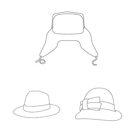 Vector illustration of headgear and cap icon. Collection of headgear and accessory vector icon for stock. Illustration