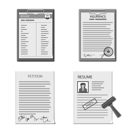 Vector design of form and document symbol. Collection of form and mark stock vector illustration. Çizim