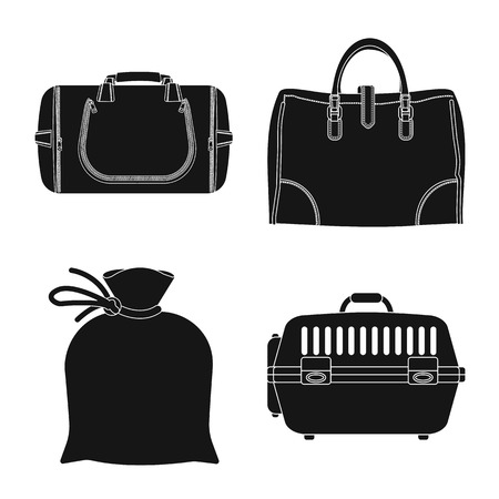 Vector illustration of suitcase and baggage symbol. Set of suitcase and journey stock vector illustration.
