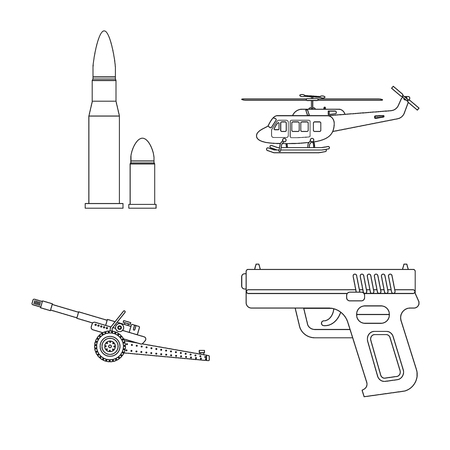 Isolated object of weapon and gun sign. Set of weapon and army vector icon for stock. Stock Vector - 113800633