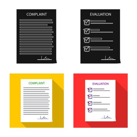 Geïsoleerd object van formulier en documentpictogram. Set van formulier en merk voorraad vectorillustratie. Vector Illustratie