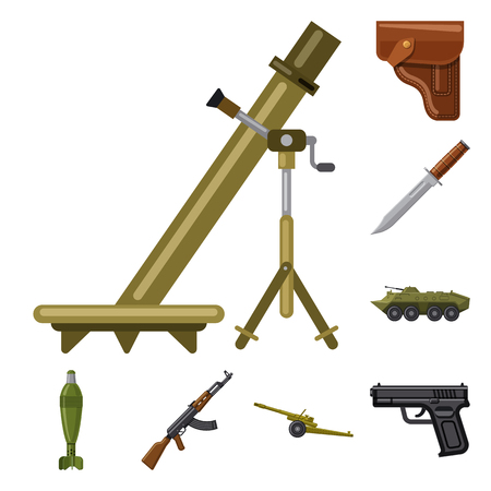 Vector illustration of weapon and gun icon. Collection of weapon and army vector icon for stock.