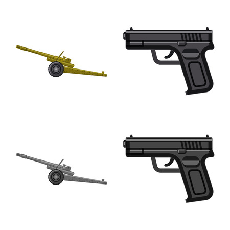 Vector design of weapon and gun icon. Set of weapon and army stock vector illustration.