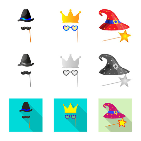 Vector illustration of party and birthday sign. Set of party and celebration stock symbol for web. Illustration