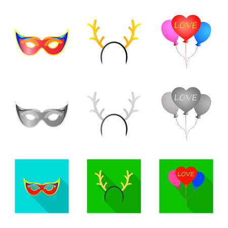 Isolated object of party and birthday logo. Set of party and celebration stock vector illustration.