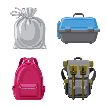 Vector illustration of suitcase and baggage symbol. Collection of suitcase and journey stock symbol for web.