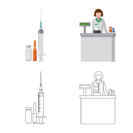 Vector illustration of pharmacy and hospital sign. Set of pharmacy and business stock symbol for web.