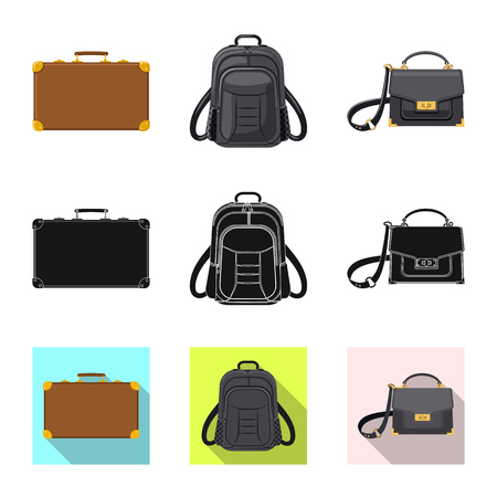 Isolated object of suitcase and baggage icon. Collection of suitcase and journey stock symbol for web.