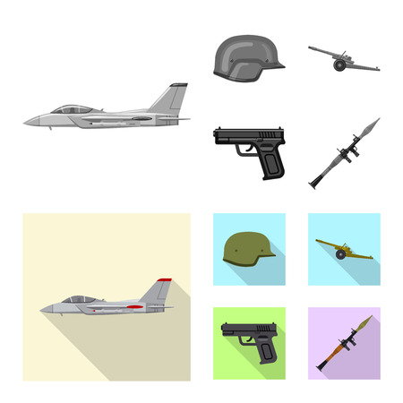 Vector design of weapon and gun symbol. Set of weapon and army stock vector illustration. Stock Vector - 113802637