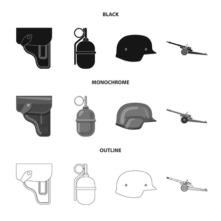 Isolated object of weapon and gun symbol. Collection of weapon and army vector icon for stock.